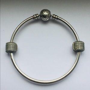 Pandora Jewelry - Pandora Bangle with SS Pave Barrel Clips